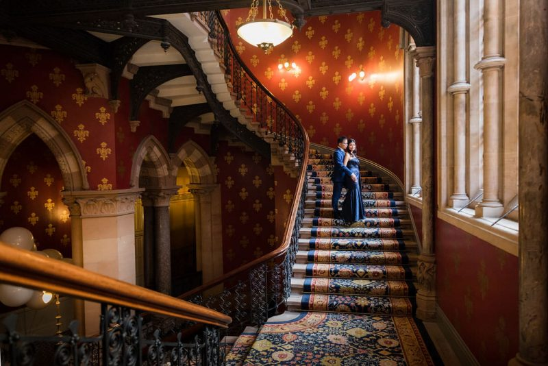 A classy style engagement photoshoot at the stairs of St. Pancras Renaissance Hotel.